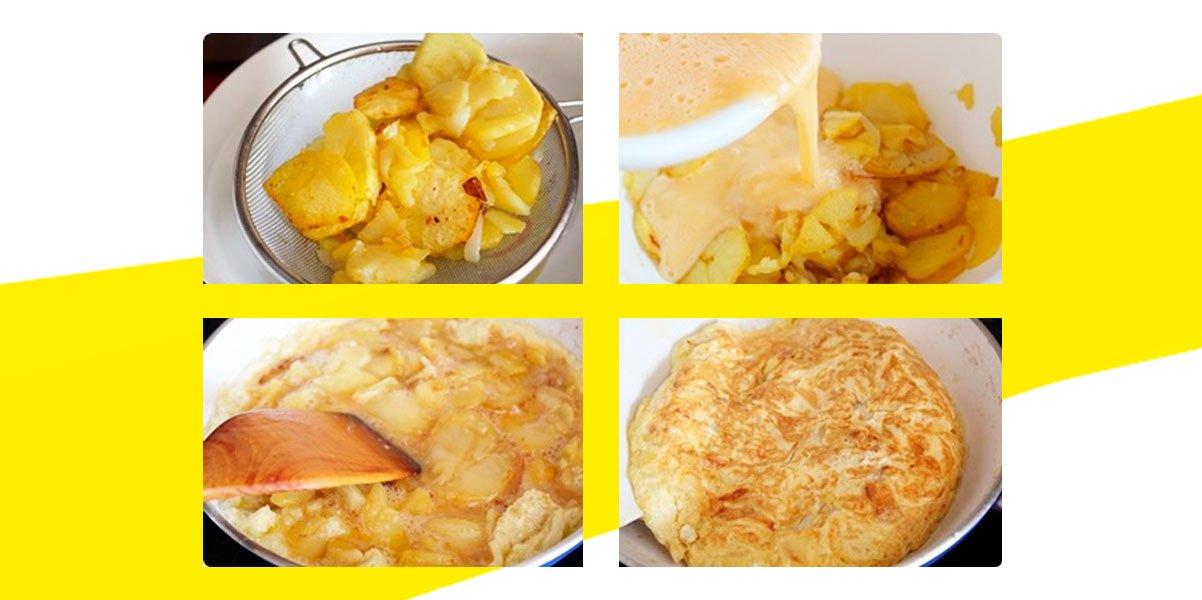 Preparación tortilla de patatas