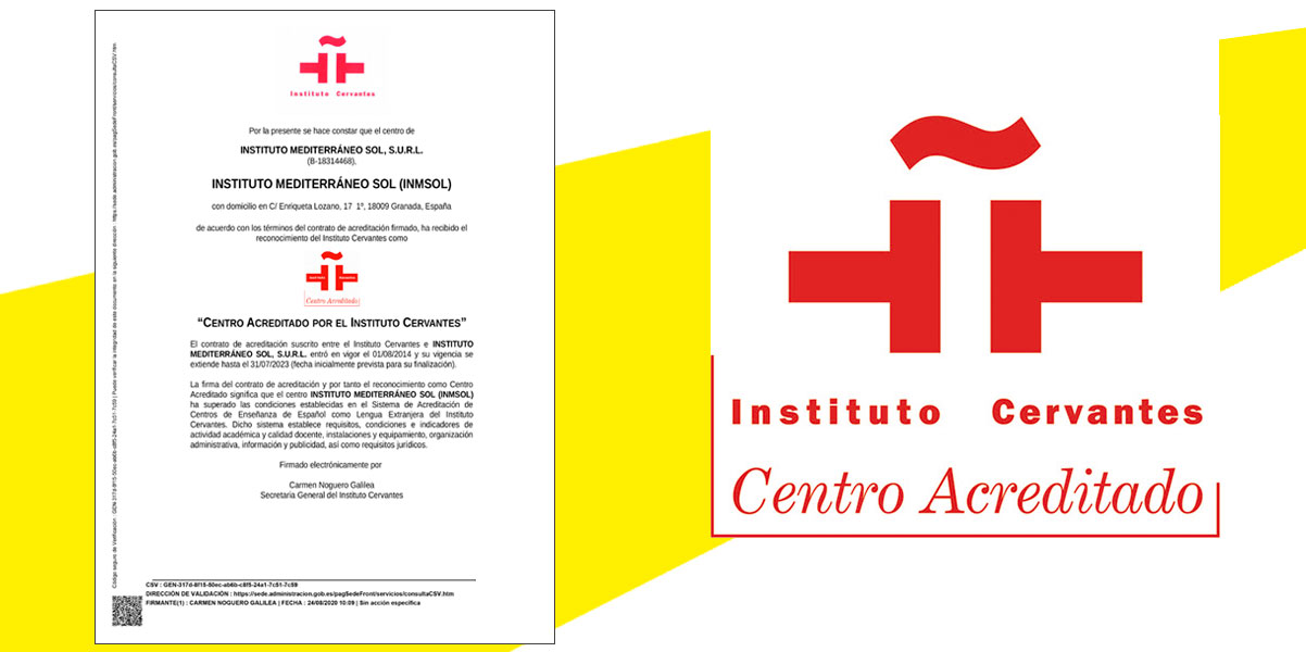 Acreditación Instituto Cervantes para iNMSOL