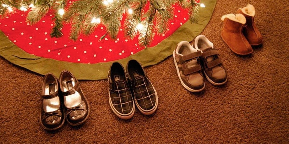 Zapatos a los pies del árbol